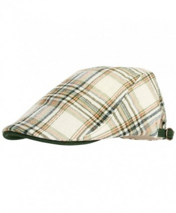 WITHMOONS Summer Flat Cap Linen Plaid Check Pattern IVY Hat LD3075 - Green - C7124HQAGB1