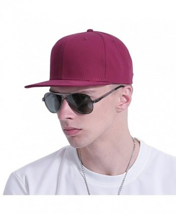 CACUSS Solid Cotton Flat Bill Brim Baseball Hat With Adjustable Snapback Hip Hop Cap - Wine - CZ17YLMD4L3