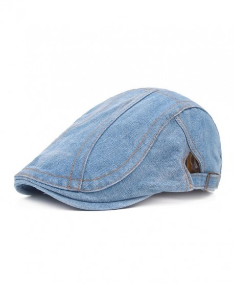 Unisex New Fashion Washed Cotton Denim Men Ivy Cap Irish Hats Truck Newsboy Caps - Light Blue 1 - CG186GD37RL