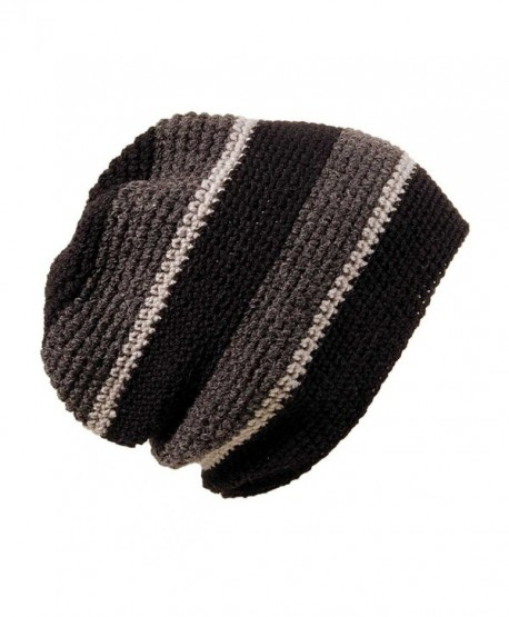 POM London Handmade Crochet Baggy Beanie Hat (Black- Charcoal- Gray) - C111C91RRIN