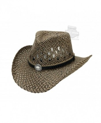 H-D Mens Black Band with Willie G Skull Medallion Patterned Grey Straw Hat - SM - C311XB84OH5