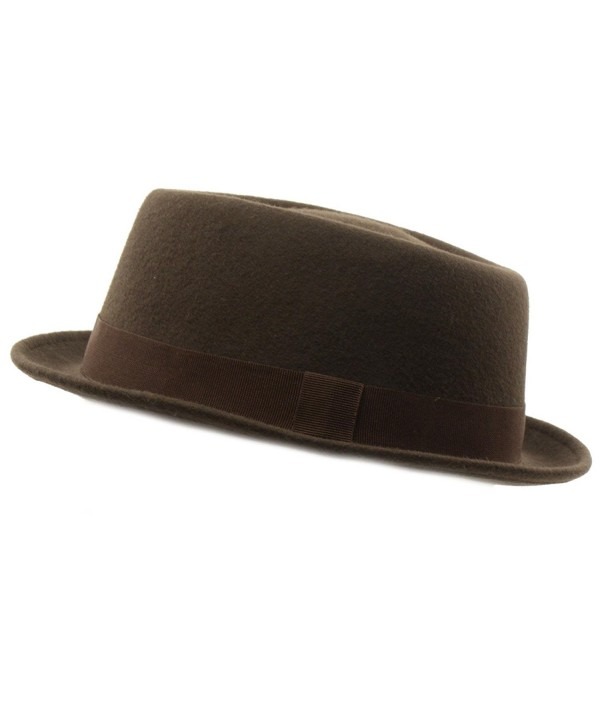Men Winter 100% Wool Boater Porkpie Derby Ribbon Band Fedora Hat S/M 56cm - Brown - CI11HZICVPJ