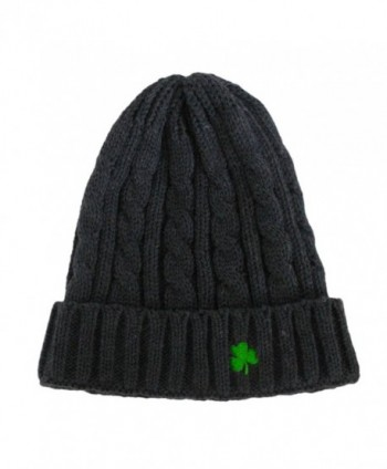 Man Of Aran Acrylic Cable Knit Beanie Hat Dark Grey Colour With Green Embroidered Shamrock - CU11ADDD54D