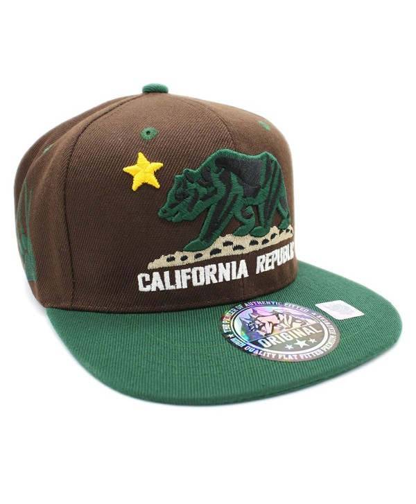 LAFSQ Embroidered California Republic With Bear Claw Scratch Snapback Cap - Brown/Yellow/Green - CE189793ONX