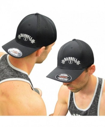 Barbell 1 FlexFit Fitted Cool Dry Hat - Powerlifting Bodybuilding Cap - Black- White - C112ITN9PWF