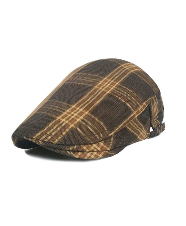 lethmik Cotton Flat Cap Gatsby Duckbill Hat Newsboy Ivy Irish Cabbie Scally Cap - Tweed Soil Yellow - C412G9HRAGP
