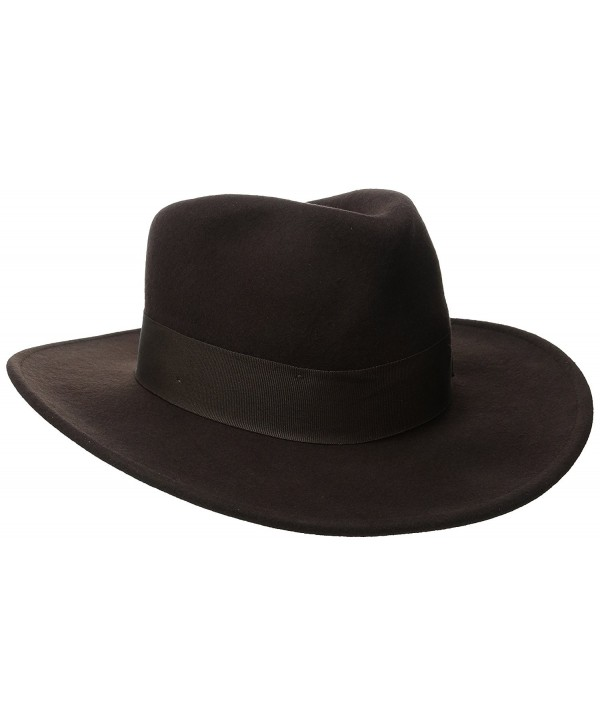Indiana Jones Men's Crushable Wool Felt Fedora Hat - Brown - CJ114G1H92X