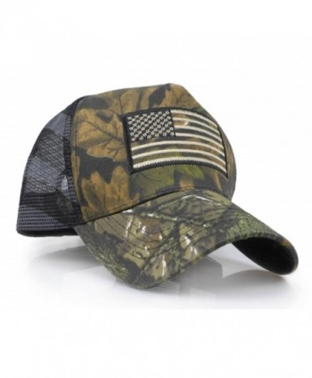 USA American Flag Embroidered Stars and Stripes Tactical Mesh Trucker Baseball Snapback Cap Hat - Realtree - CB187Y7L2DX