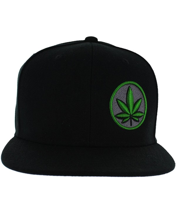 Pot Leaf Hat Collection Premium Puff 3D Embroidery - Snapback Hat Variations - USA. - Black - C712O4AT09G