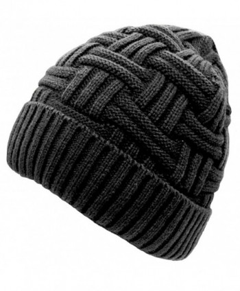 Anna & Eric Men's Unisex Winter Knitted Fleece Lined Beanies Ski Cap - Black - CO12NFGAP7G