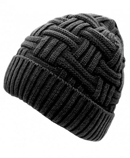Anna & Eric Men's Unisex Winter Knitted Fleece Lined Beanies Ski Cap - Black - CO12NFGAP7G