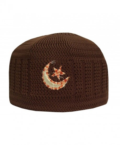 NDA Eid Koofi Mens Kufi One-Size Turkish Pakistani Stretchable Moon Star Prayer Topi - Syrup - CE182XH7Z9U