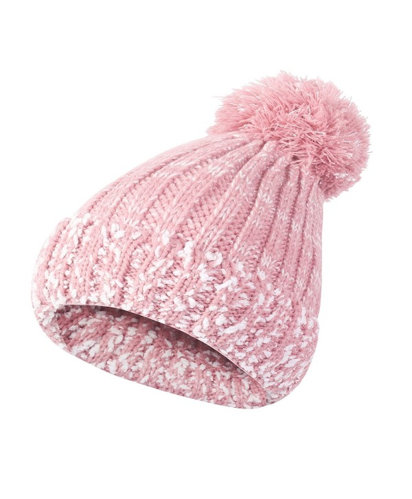Winter Slouchy Cable Beanie Fleece - Pink - CR188HQA9EC