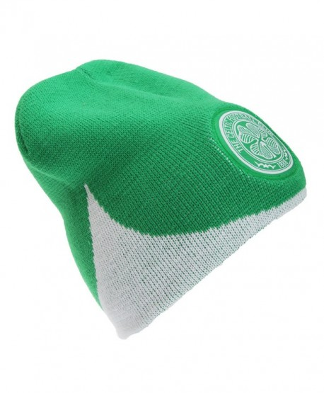 Celtic FC Official Wave Knitted Soccer Football Crest Winter Beanie Hat -  Green white - CI123FTD4XJ ad89c63bca1