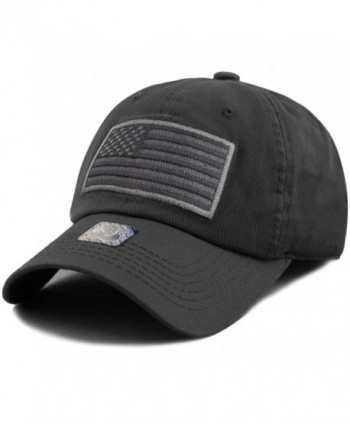 The Hat Depot Low Profile Tactical Operator USA Flag Buckle Cotton Cap - Black-2 - CH1836CYY6C