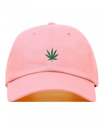 Marijuana Embroidered Baseball Unstructured Adjustable - Light Pink - C2187NIS95R