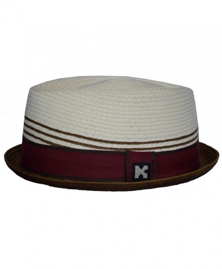 Upturn Diamond Crown Pork Pie Paper Straw Fedora Medium Burgundy Natural - CE11H9T54ZN