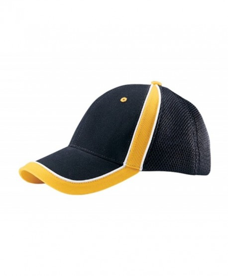 G Men's Low Profile Brushed Canvas Sports Mesh Cap - Black Yellow - CX11UKLW3AF