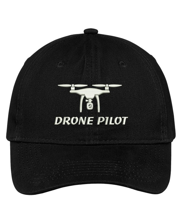 Trendy Apparel Shop Drone Pilot Embroidered Soft Crown 100% Brushed Cotton Cap - Black - CR17YTZOTT6