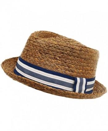 Broner Raffia Straw Diamond Crown Fedora Low Profile Golf Hat Summer Beach - C312DSL4ENX