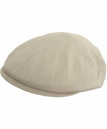 Broner 100% Cotton Knit IVY Flat Hat Ventair Summer Scally Driving Cap - Natural - C211AZVXJRL