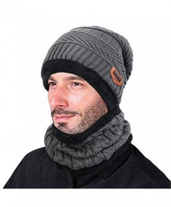 Azornic Warm Knitted Beanie Hat and Circle Scarf Skiing Hat Outdoor Sports Hat Sets - Grey - CN1889U29GW