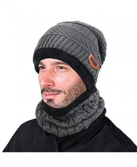 f1b0b8d87fa Azornic Warm Knitted Beanie Hat and Circle Scarf Skiing Hat Outdoor Sports  Hat Sets - Grey