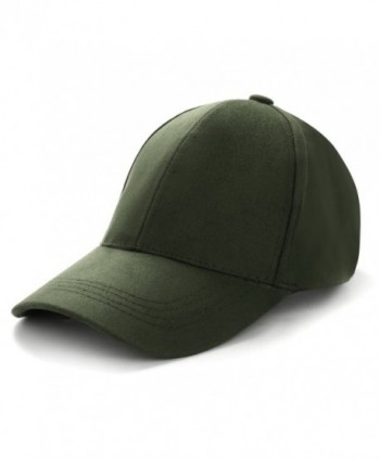 ZOMOY Baseball Hat Unisex Faux Suede Cotton Adjustable Plain Cap Polo Style - Army Green - C41859H3K4K