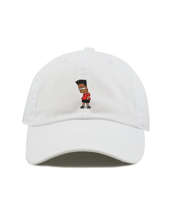Black Hair Bart Dad Hat Cotton Baseball Cap Polo Style Low Profile 5 Colors - White - CR185SA3XMD