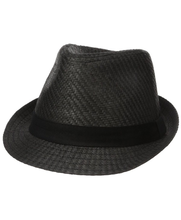 Levi's Men's Straw Fedora With Twill Band - Black - CC12N3BZ2TV