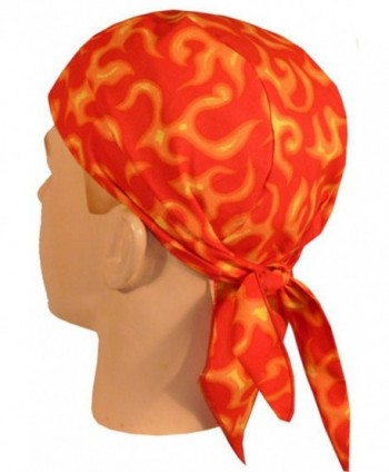 Skull Cap Biker Caps Headwraps Doo Rags - Liquid Orange Flames on Red - C312ELHOX9N