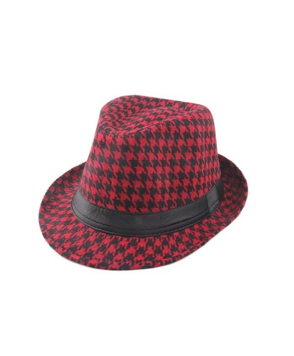 Dantiya Men's Plaid Wool Fedoras Jazz Trilby Hats - Red - CX11VJTNNB1
