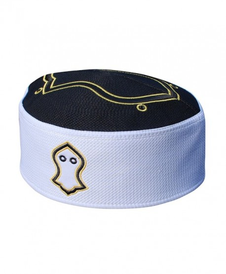 Exclusive Black White Golden Embroidered Sandal Kufi Crown Cap Muslim Hat - CX17YHYCL2Y
