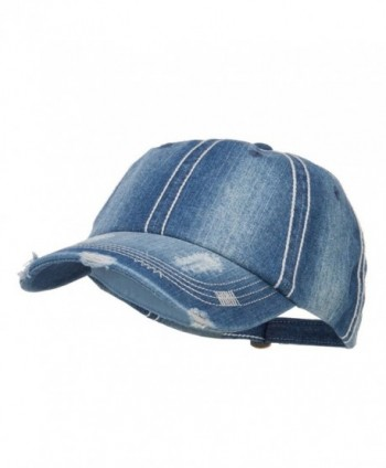 MG Distressed Heavy Washed Denim Cap - Blue - CQ12HV9R79V