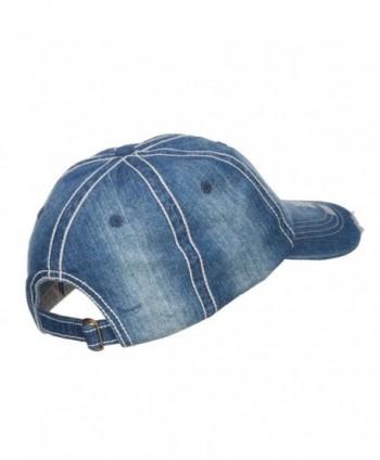 Distressed Heavy Washed Denim Cap in Men's Baseball Caps