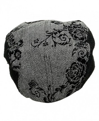 UBI NYH Embroidered Herringbone Hat Black in Men's Newsboy Caps