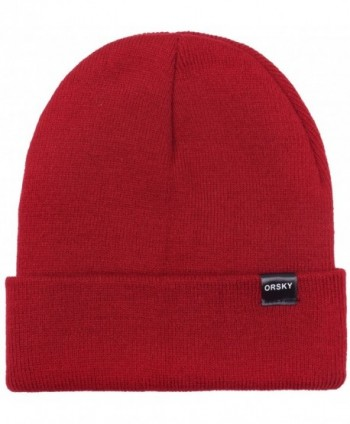 ORSKY Womens Winter Hats Cuffed Beanie Hat Stocking Cap Knit Watch Caps For Women Men - Solid Burgundy - CW187IEQKRN