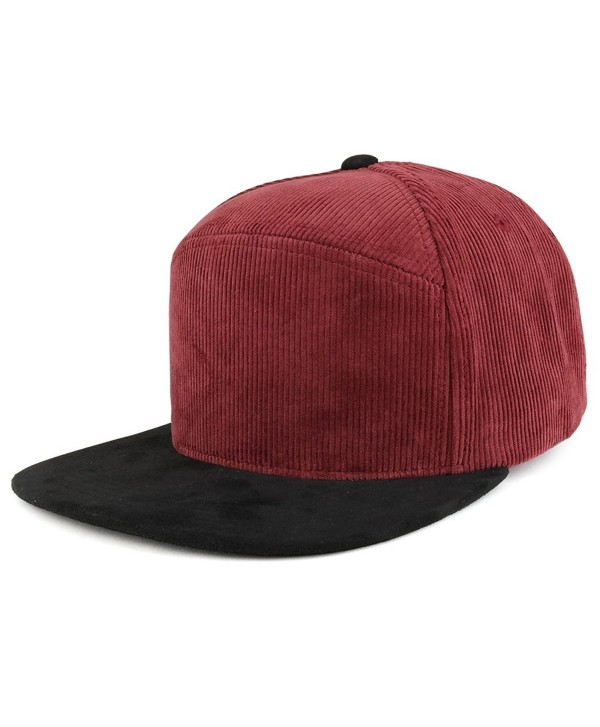 Trendy Apparel Shop Plain Corduroy Textured Suede Flat Bill Snapback Cap - Burgundy Black - CQ185R5I6C9