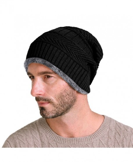 TiRain Men's Stylish Slouchy Cable Knit Beanie Hats Warm Skull Ski Caps - Black - C112KA16WT7