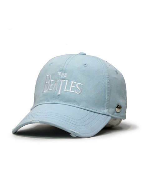 The Beatles Classic Adjustable Baseball Cap Drop T Logo Sgt Pepper Drum Abbey Road - Drop T Light Blue - CH125N8RZEJ