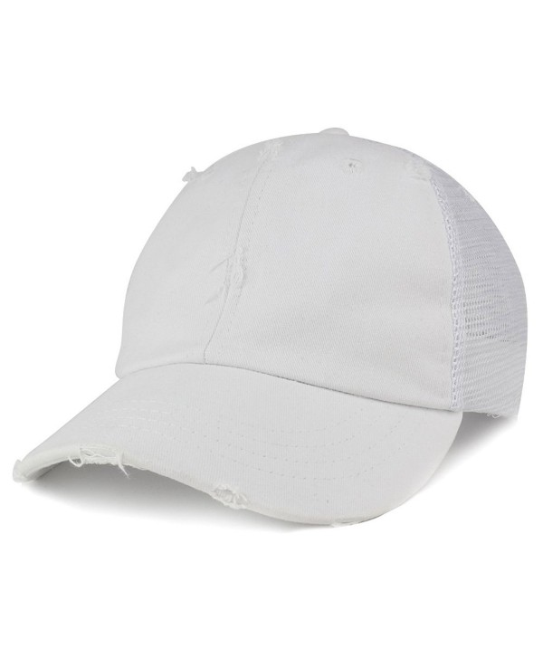 Armycrew Vintage Distressed Mesh Adjustable Trucker Cap - White - CD12NAFG192