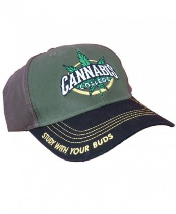Cannabis 420 Marijuana Themed Ball Cap Hats - Cannabis College Green Front - C011VAME3D3
