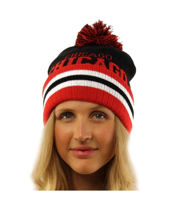 Unisex Team Sport 2ply Chunky Stretchy Knit Beanie Ski Hat Cap - Chicago - C511B5MHRHX