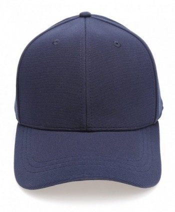 MIRMARU Plain Polyester Twill Baseball Cap Hat With Flex Fit Elastic Band - 1732-navy - CY12O925VJ7