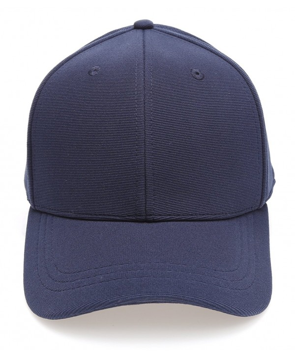 MIRMARU Plain Polyester Twill Baseball Cap Hat With Flex Fit Elastic Band - 1732-navy - CY12O925VJ7