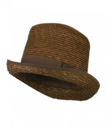 Wheat Braid Top Hat Fedora - Brown - CU11K1CO4ZL
