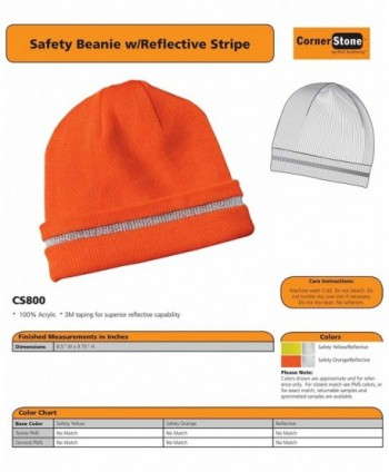 Safety Beanie Reflective Stripe Color in Men's Skullies & Beanies