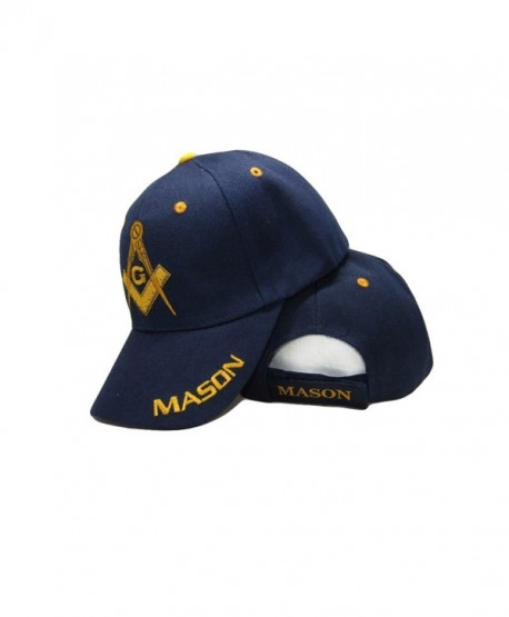 Blue and Gold Mason Masons Freemason Masonic Lodge Ball Cap 3D embroidered Hat - CX186DT9R67