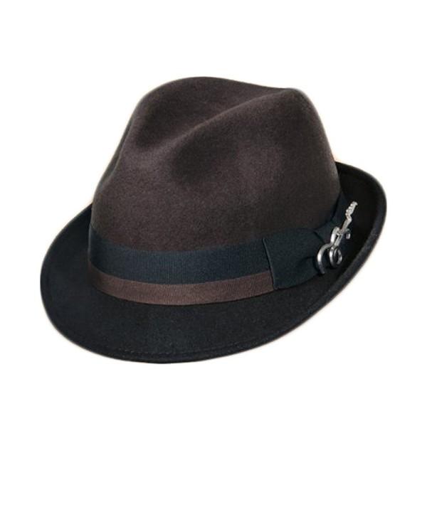 Dorfman Pacific Carlos Santana Bogart Fedora Hat (Brown & Black- Small/Medium) - C211FTZE4B9