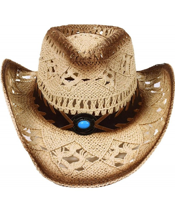 Simplicity Western Men / Women Cowboy Straw Hat with Leather Band - Natural - CC11D2CQ9JV